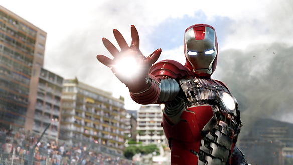 Iron Man gleaming in the sun, repulsor ray at the ready.