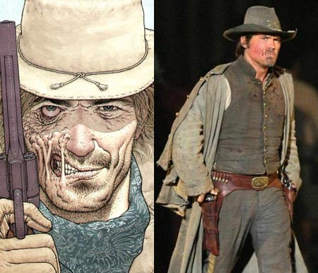 Comic-book Jonah Hex and Josh Brolin in full costume.