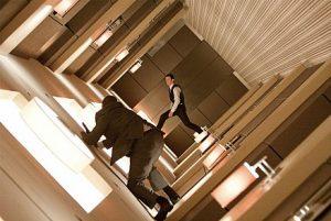 Arthur and Random Bad Guy walk on walls. And ceilings, and floors.