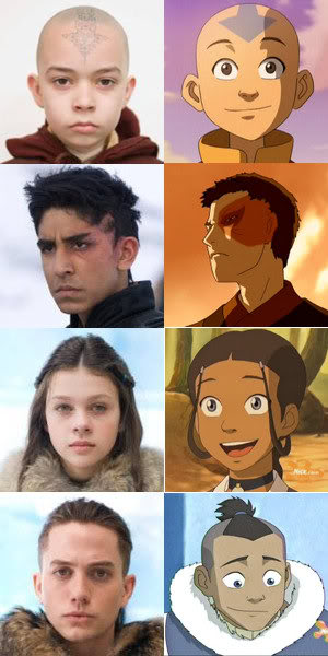 The Last Airbender movie cast versus the animated series cast.