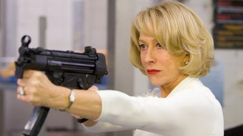 Helen Mirren and one of her impeccable selection of really big guns.
