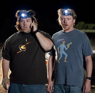 The guys model the latest in headlamps for easier alien-hunting.
