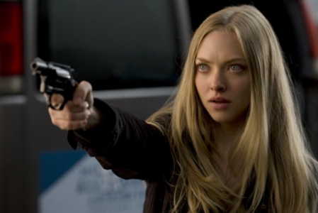 Amanda Seyfried kind of fails at scary, even with a gun, but succeeds in crazy.