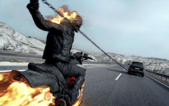 Ghost Rider demonstrating tactics for his defensive driving course.