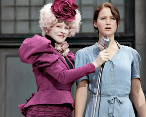 Katniss is speechless at this sample of the hideous outfits from the Capitol.