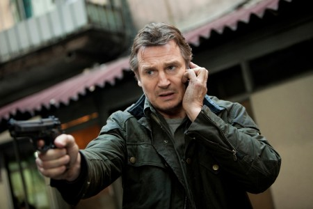 Liam talking on his cell. Kinda drains all the tension out of the fight scene.