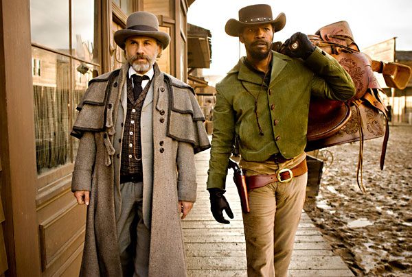 Dr. Schultz and Django stroll down the wild streets of the South. Cue shootout.