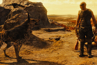 Riddick with my favorite character: The CGI 'dog'.