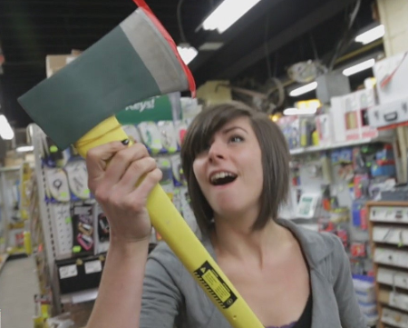 Yes, Jen is much too excited about that axe.