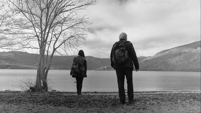 Carolina and Ricardo on the shores of the glacial lake.
