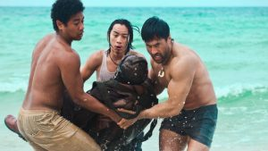 Haku, Matsu, and Ben pulling Shigenori from the water.